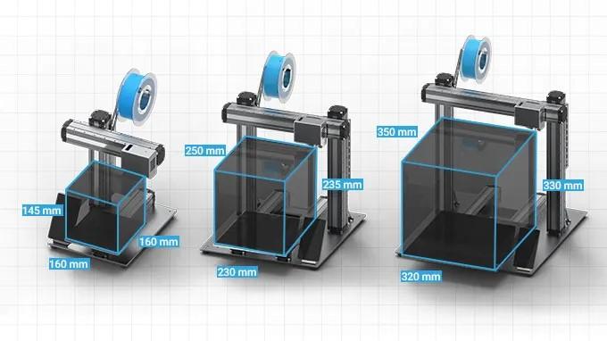 ابعاد مختلف فضای کاری دستگاه FDM چاپگر سه بعدی